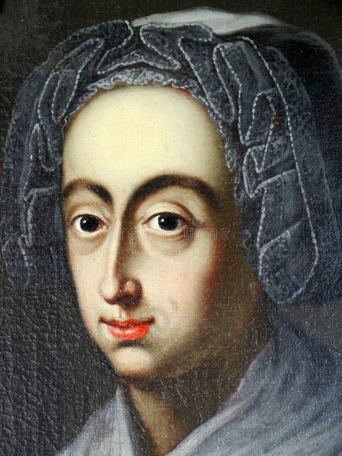 Retrato colorido de la vieja pintura de una mujer joven foto de archivo libre de regalías