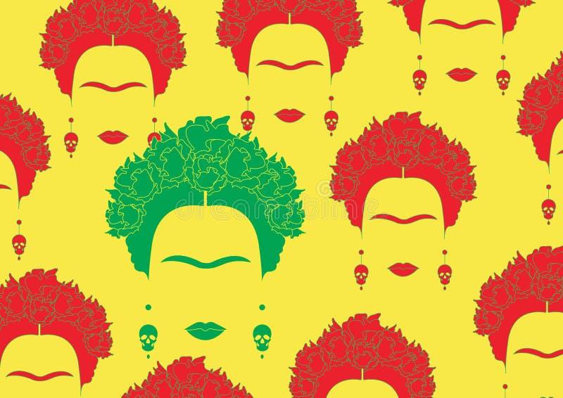 Retrato colorido del fondo de la mujer mexicana o española, minimalist Frida Kahlo con los cráneos de los pendientes, ilustración del vector