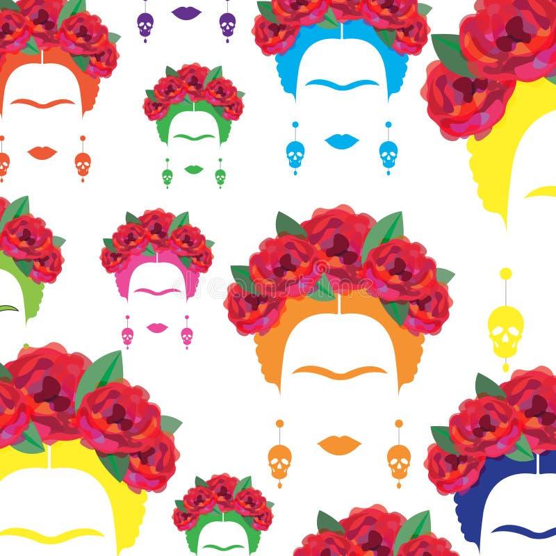 Retrato colorido del fondo de la mujer mexicana o española, minimalist Frida Kahlo con los cráneos de los pendientes, stock de ilustración