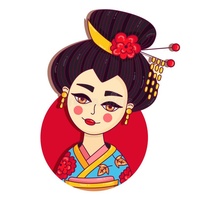 Retrato colorido del vector del garabato de la muchacha de Japón del geisha libre illustration