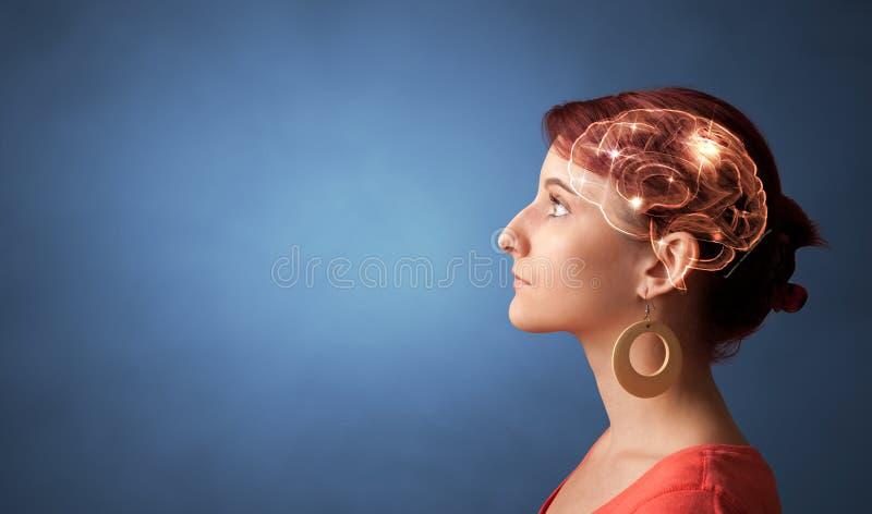 Retrato com c?rebro e conceito conceituar imagens de stock royalty free