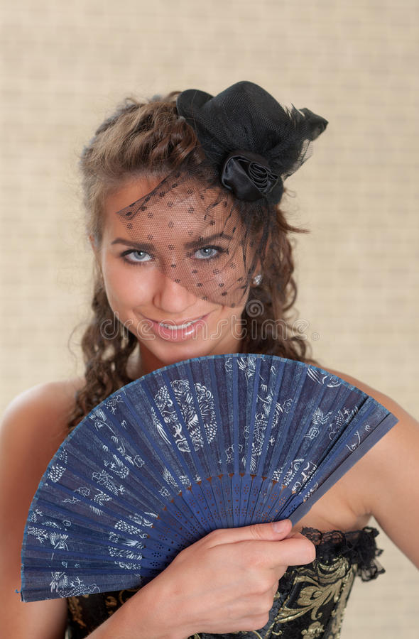 Download Retrato com um ventilador foto de stock. Imagem de pessoa - 26510878
