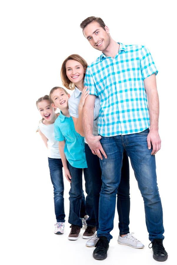 Retrato completo da família europeia feliz com crianças fotos de stock royalty free