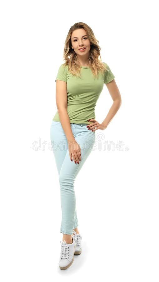 Retrato completo da jovem mulher bonita no fundo branco foto de stock