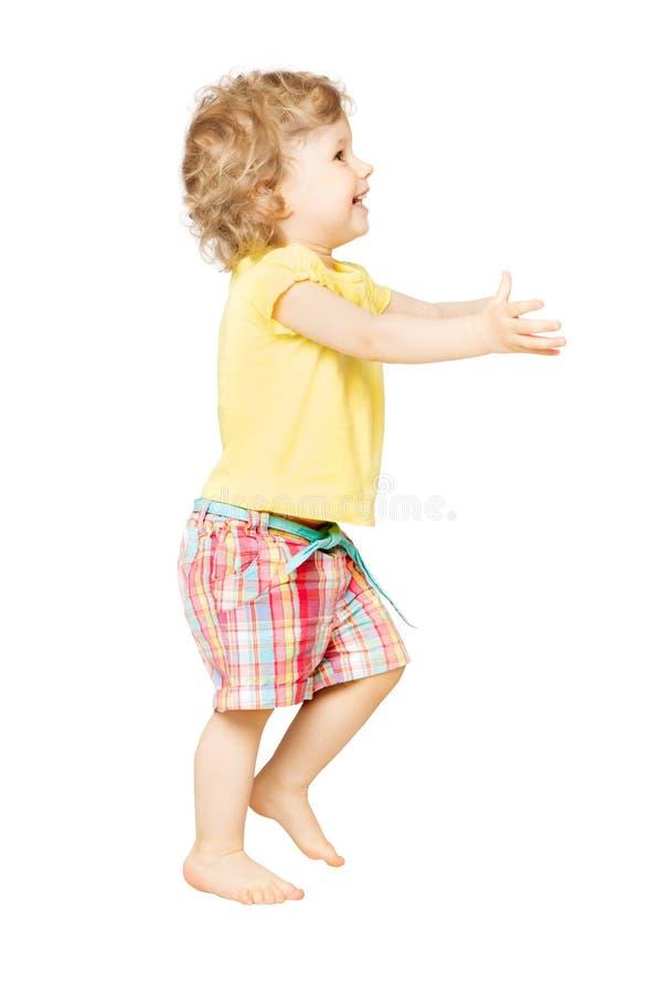 Retrato completo do comprimento do bebê, criança feliz que joga na criança de um ano branca, engraçada da criança foto de stock