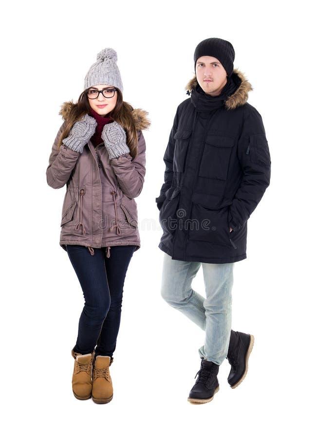 Retrato completo do comprimento da jovem mulher e do homem considerável no inverno c fotos de stock