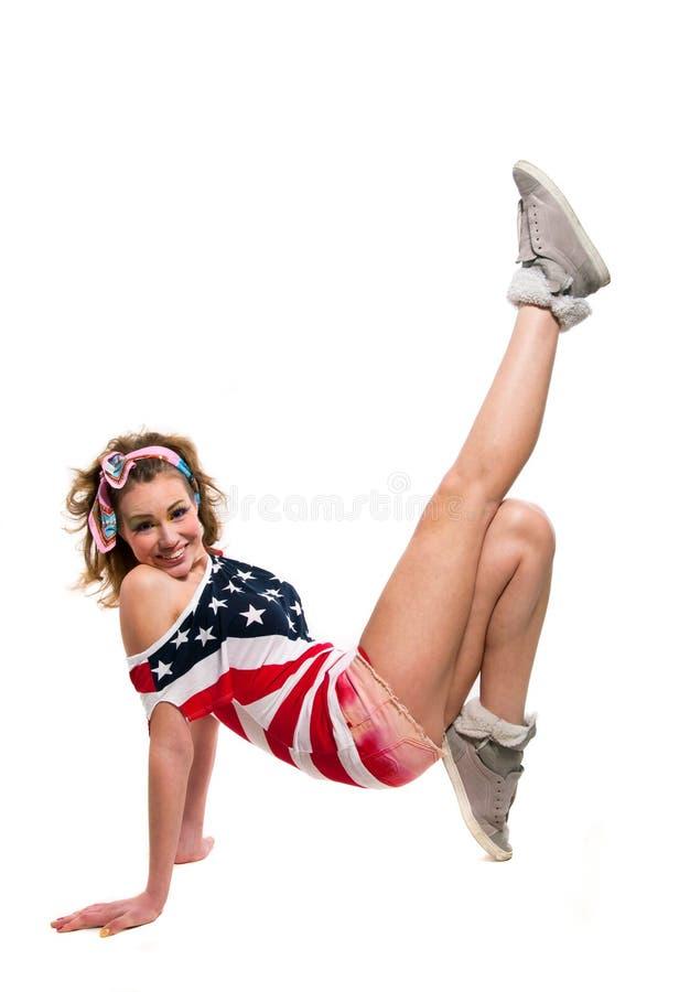 Menina americana consideravelmente engraçada no branco foto de stock