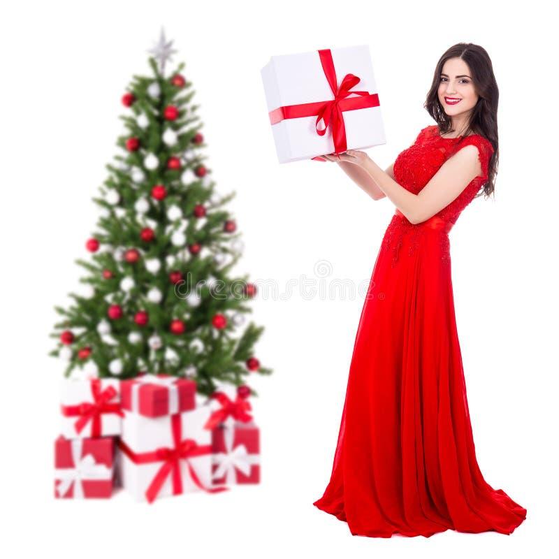 Retrato completo do comprimento da mulher bonita nova no vestido vermelho com fotos de stock