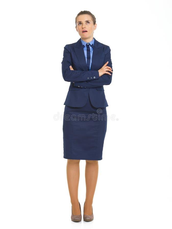 Retrato completo do comprimento da mulher de negócio irritada fotos de stock royalty free