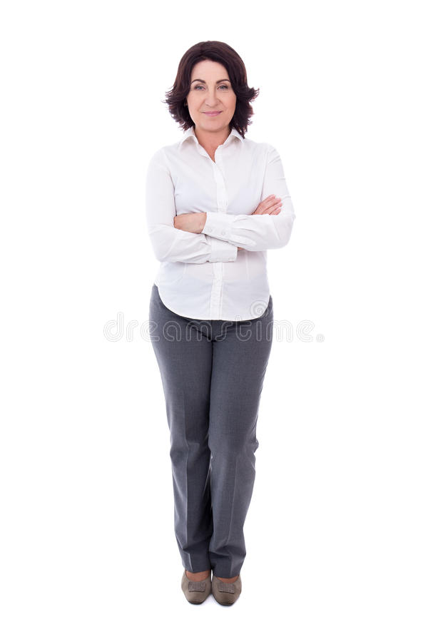 Retrato completo do comprimento da mulher de negócio maduro isolada no branco foto de stock