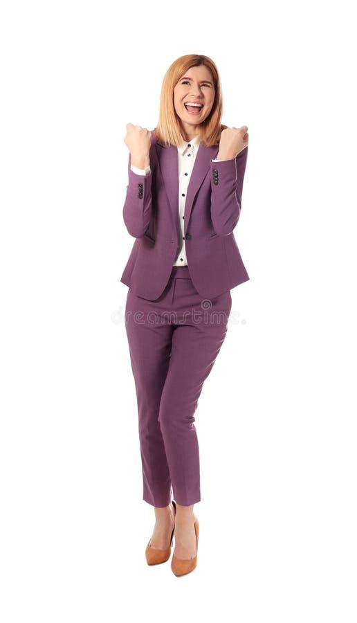Retrato completo do comprimento da mulher de negócios emocional no branco imagem de stock