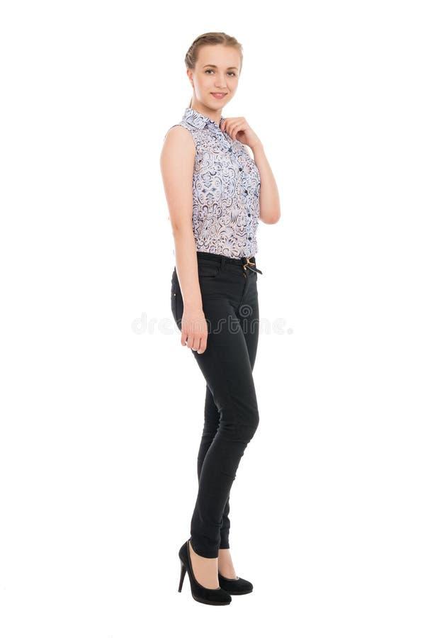 Retrato completo do comprimento da mulher de negócios nova isolado nos vagabundos brancos foto de stock