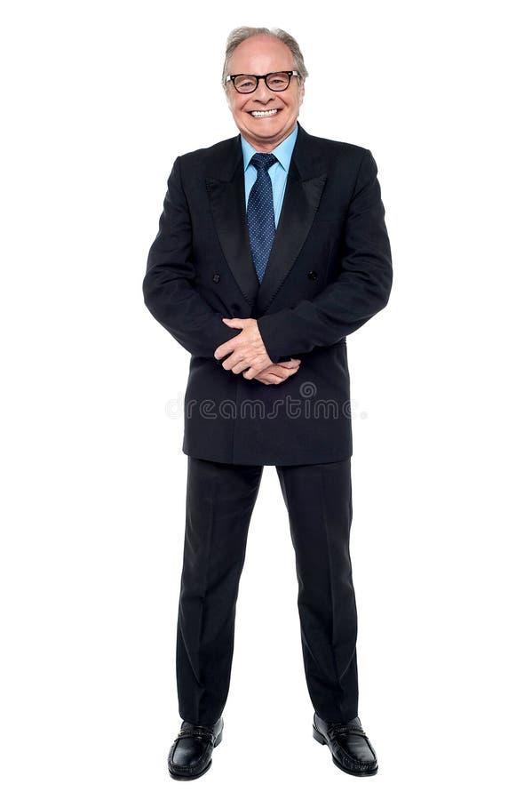 Retrato completo do comprimento de um homem de negócios superior fotos de stock