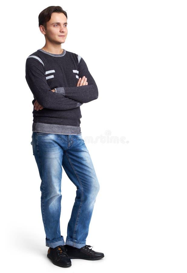 Retrato completo do comprimento de um homem ocasional seguro fotografia de stock