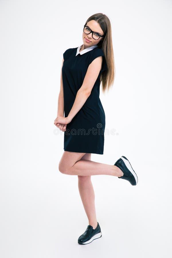 Retrato completo do comprimento de uma mulher encantador imagens de stock royalty free
