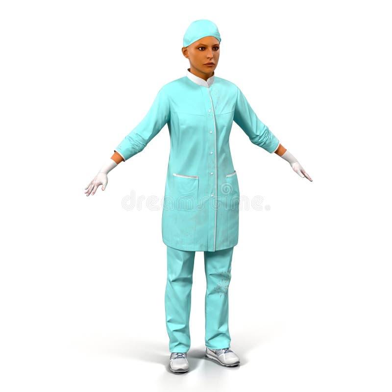 Retrato completo do comprimento do doutor fêmea na ilustração 3D branca ilustração stock