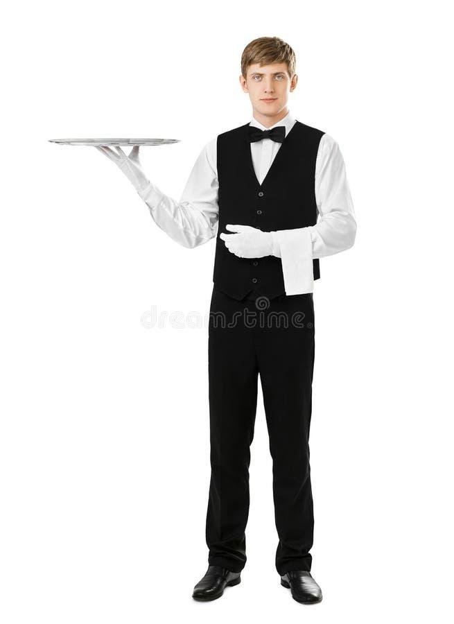 Retrato completo do comprimento do garçom elegante considerável que guarda o si vazio fotografia de stock