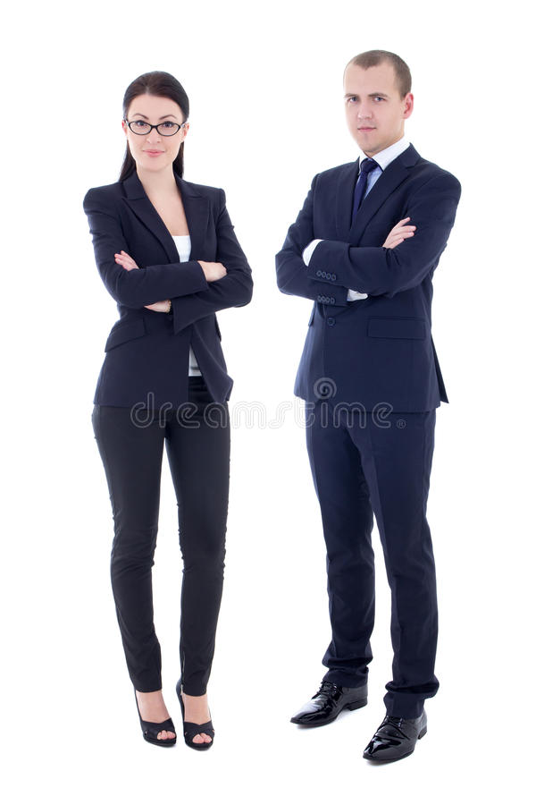 Retrato completo do comprimento do homem considerável novo e da mulher bonita mim fotografia de stock