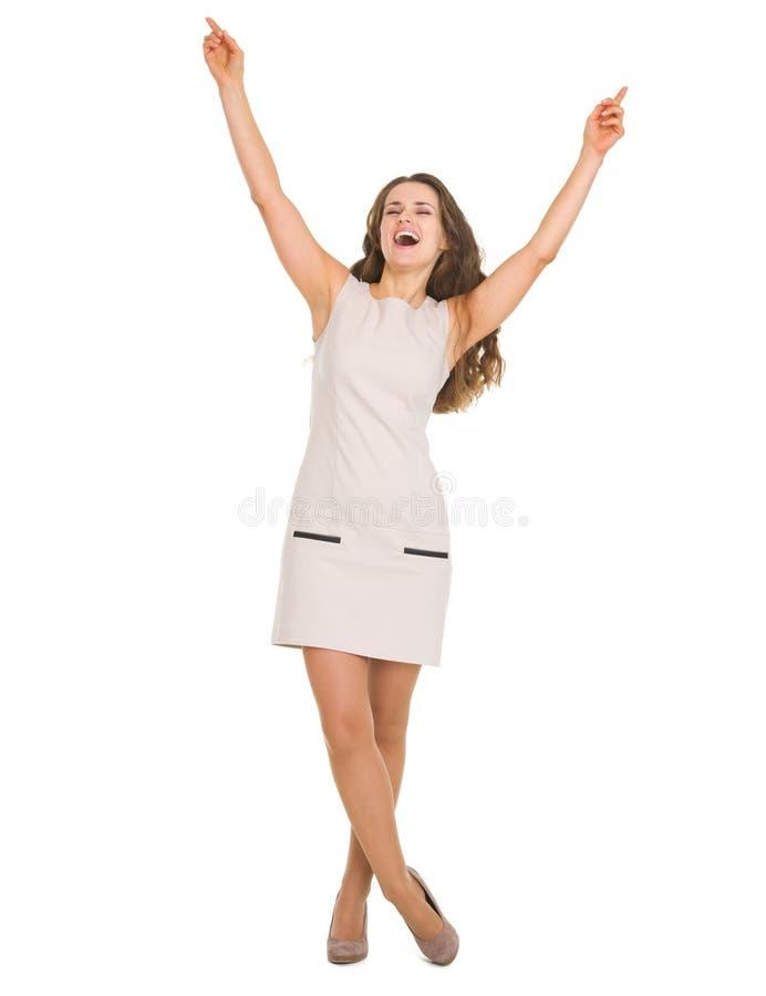 Retrato do sucesso feliz do júbilo da mulher imagens de stock royalty free