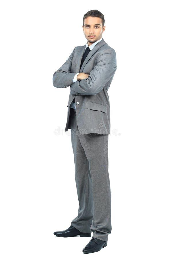 Retrato completo do corpo do homem de negócio de sorriso feliz imagem de stock