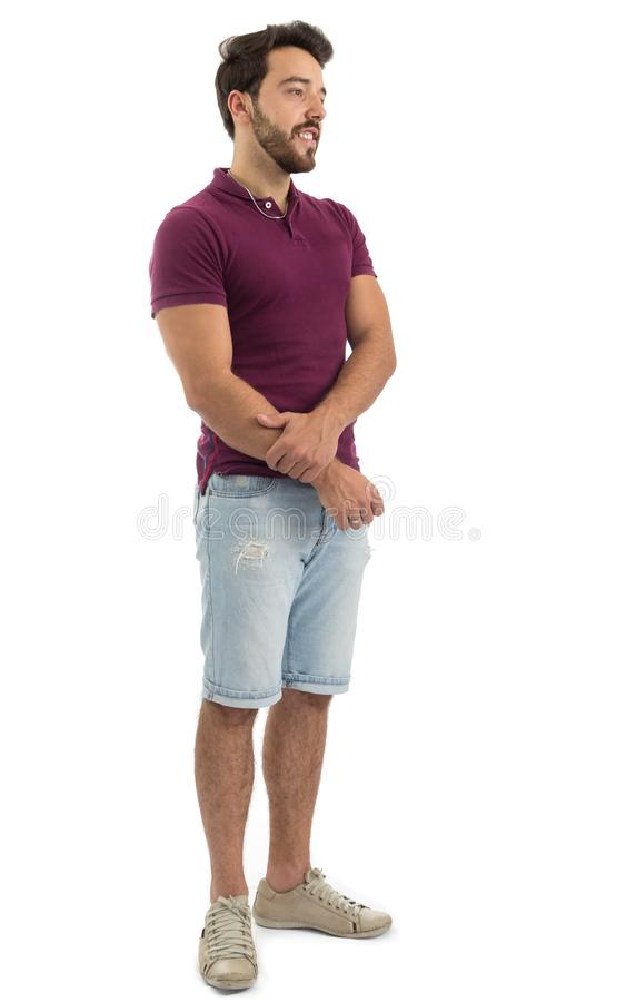 Retrato completo do corpo do homem amigável Pessoa bonita e farpada fotos de stock