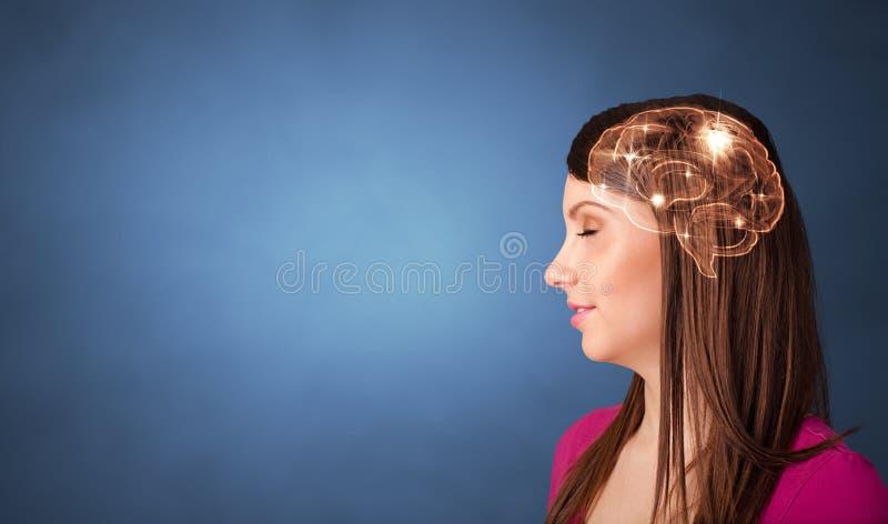 Retrato con el cerebro y el concepto el inspirarse fotografía de archivo