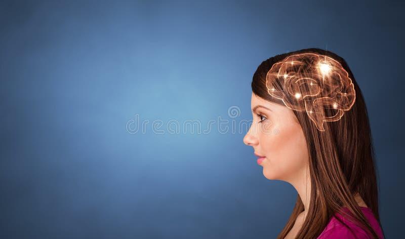 Retrato con el cerebro y el concepto el inspirarse foto de archivo libre de regalías