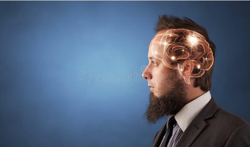 Retrato con el cerebro y el concepto el inspirarse fotografía de archivo libre de regalías