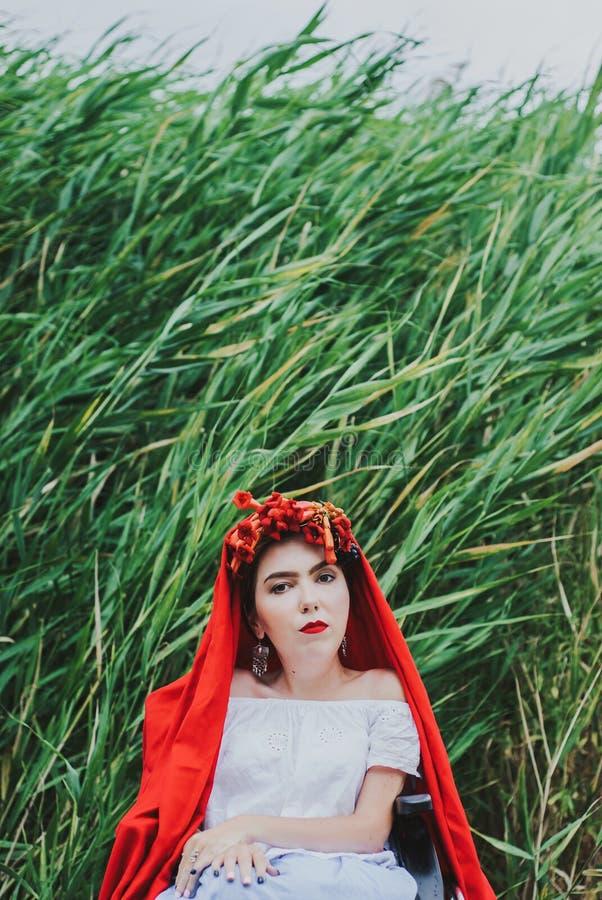 Retrato conceptual do verão da mulher caucasiano nova bonita com bordos vermelhos, flores vermelhas no cabelo, sentando-se na cad imagens de stock royalty free