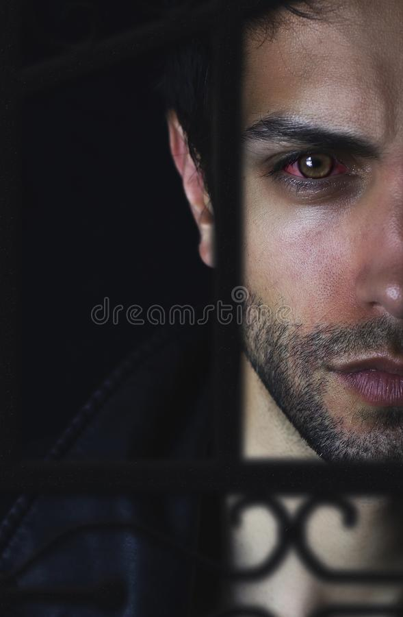 Retrato considerável do homem do vampiro no preto imagens de stock royalty free