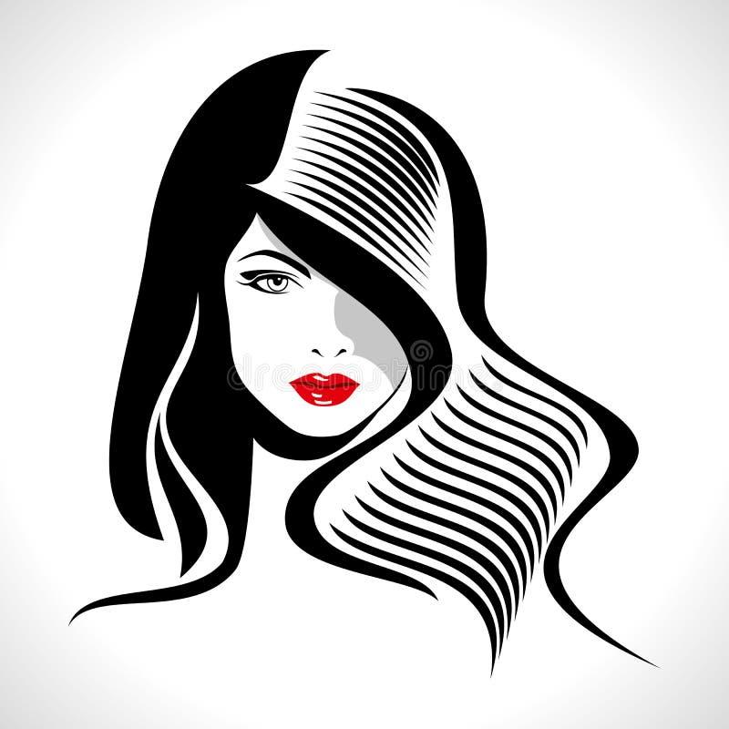 Retrato creativo de la moda de un modelo ilustración del vector