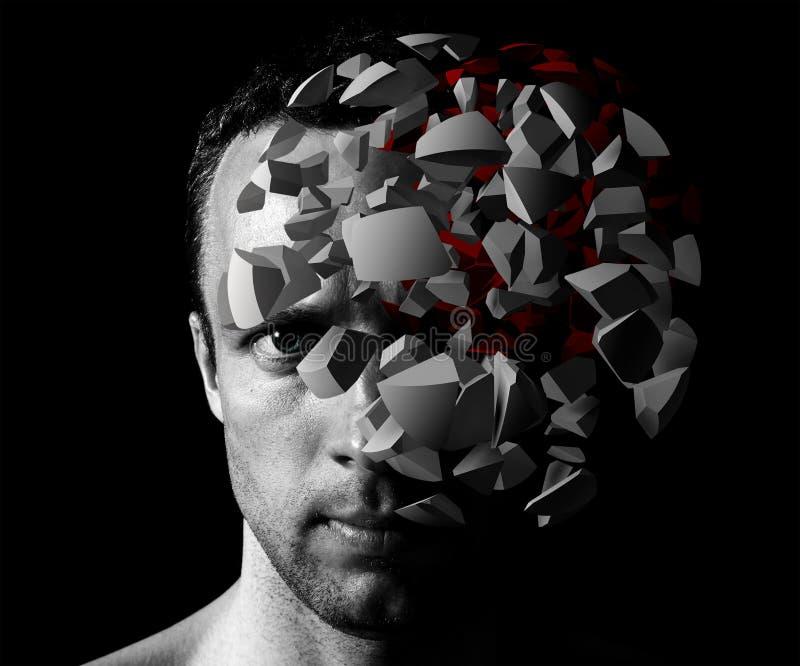Retrato creativo del hombre caucásico con la explosión 3d stock de ilustración