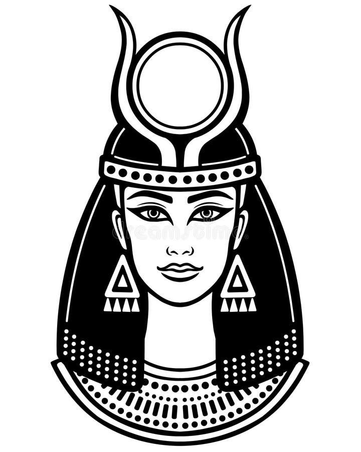 Retrato da animação da deusa horned egípcia antiga ilustração stock