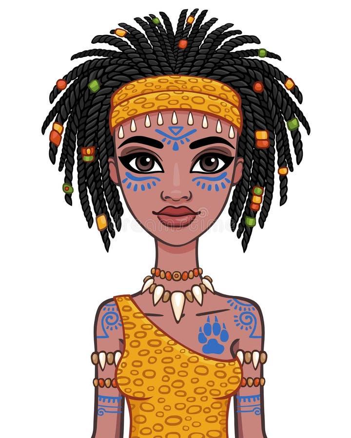 Retrato da animação da menina amazon ilustração do vetor