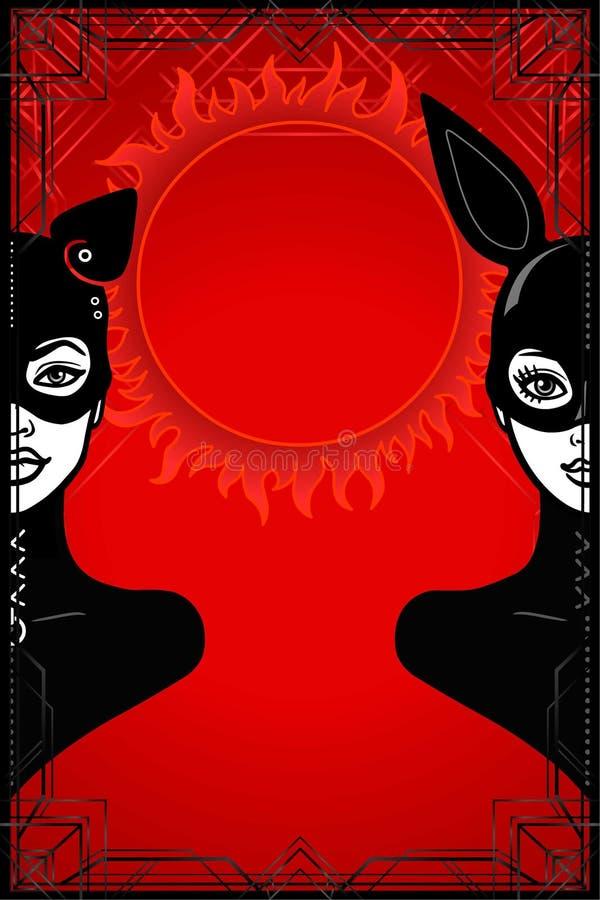 Retrato da animação de duas mulheres no terno e na máscara pretos do látex: gato e coelho ilustração do vetor