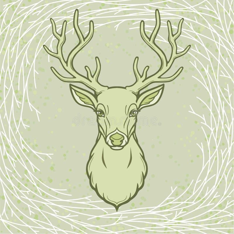 Retrato da animação de um cervo horned Espírito de madeira, deidade pagão ilustração royalty free