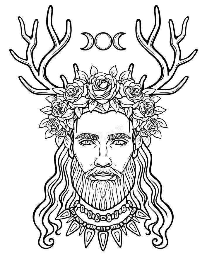Retrato da animação do homem novo em uma grinalda com chifres dos cervos ilustração stock