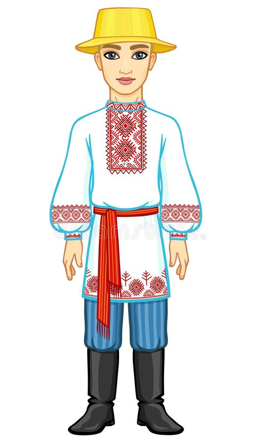 Retrato da animação do menino bielorrusso novo na roupa tradicional Europa Oriental ilustração do vetor