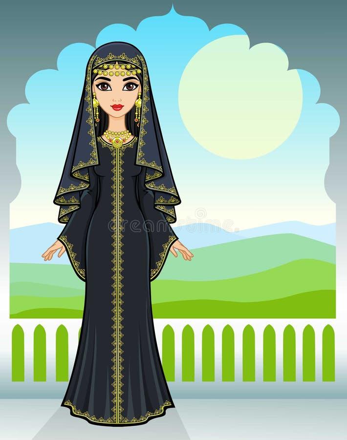 Retrato da animação da menina árabe bonita que está na perspectiva de uma janela do palácio ilustração stock