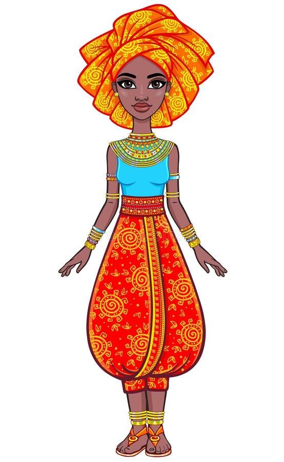 Retrato da animação da menina africana atrativa em um turbante Roupa étnica brilhante ilustração royalty free