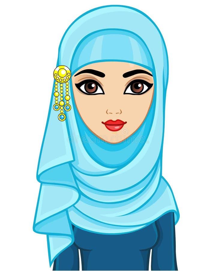 Retrato da animação da mulher árabe nova bonita em um hijab ilustração stock