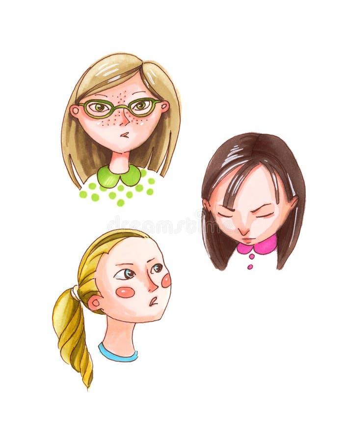 Retrato da aquarela da cara, caras diferentes do ` s da menina ilustração do vetor