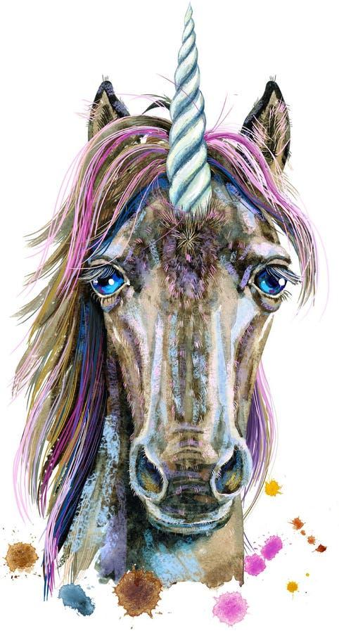 Retrato da aquarela de um unicórnio com uma juba cor-de-rosa ilustração royalty free