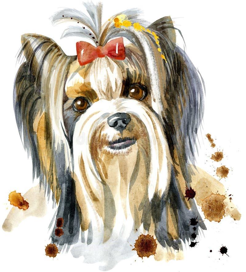 Retrato da aquarela do cão da raça do yorkshire terrier ilustração do vetor