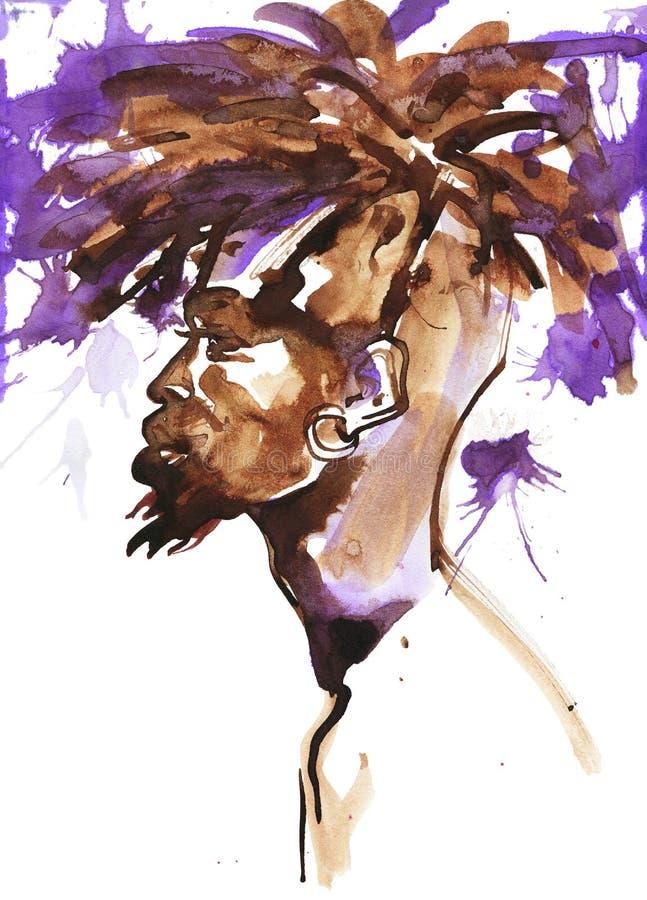Retrato da aquarela do homem africano ilustração stock