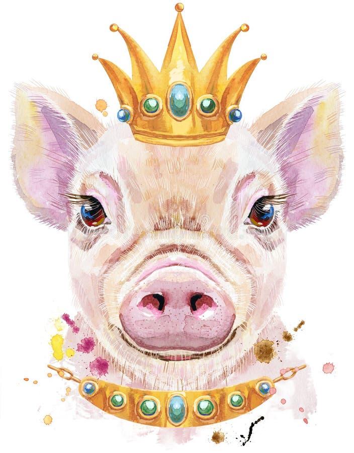 Retrato da aquarela do mini porco com coroa ilustração royalty free