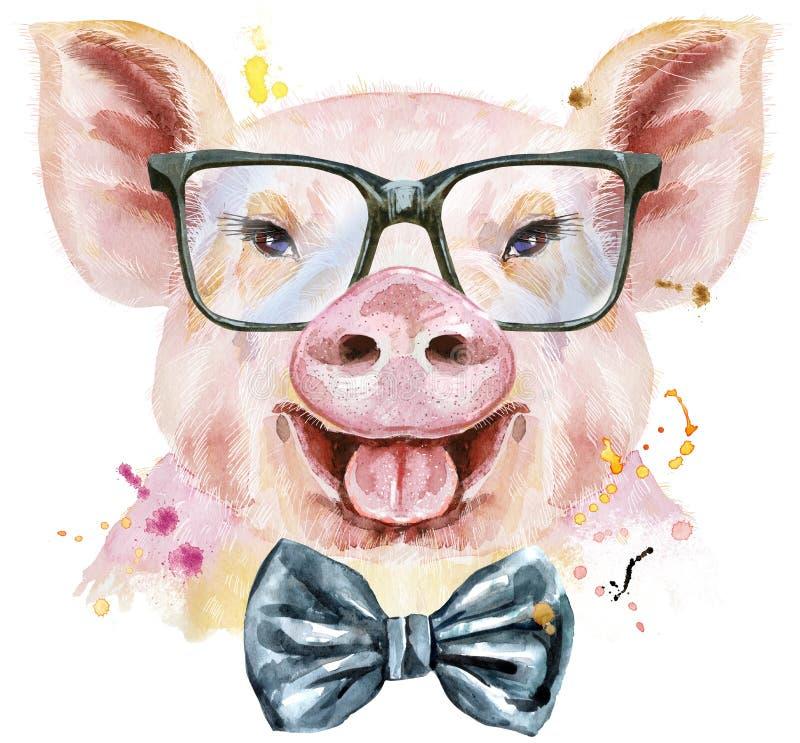 Retrato da aquarela do porco com laço e vidros ilustração stock