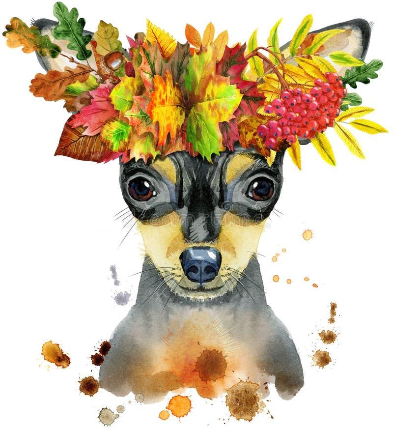 Retrato da aquarela do terrier de brinquedo na grinalda das folhas ilustração royalty free