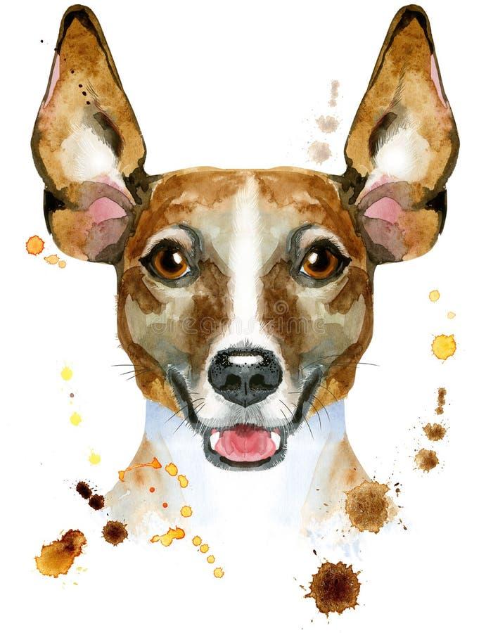 Retrato da aquarela do terrier de russell do jaque ilustração stock