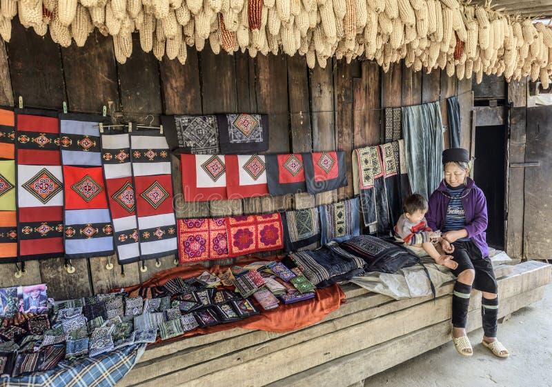 Retrato da avó do tribo de Hmong e do seu neto em sua casa tradicional em Sapa, Vietname fotos de stock
